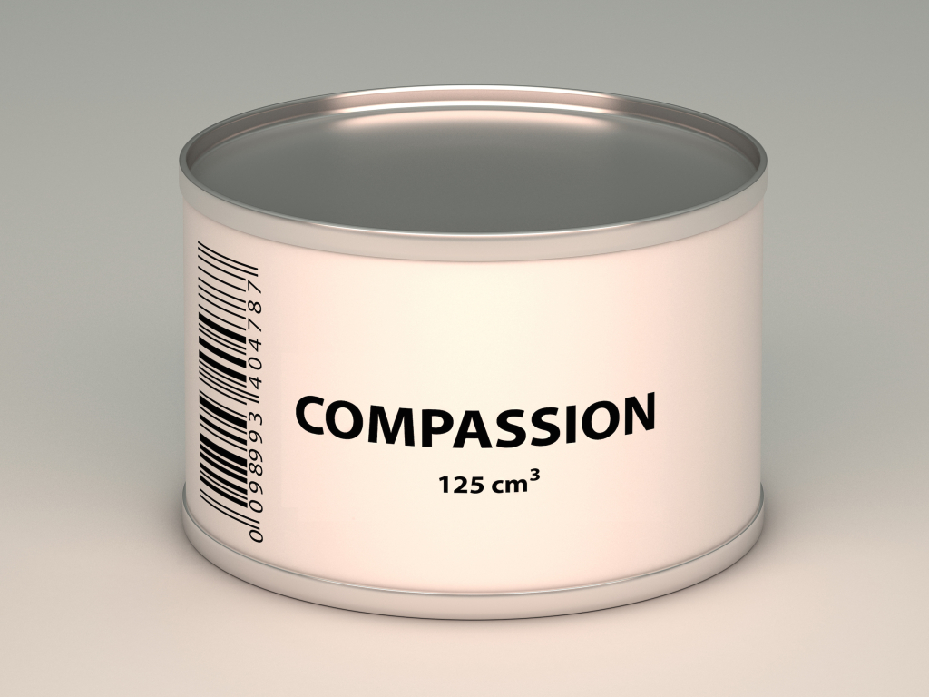 illustration of bank with compassion title